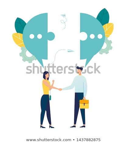 ストックフォト: ブログ · 青 · パズル · 白 · ビジネス · ネットワーク