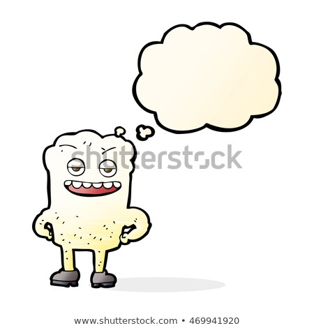 cartoon tooth looking smug with thought bubble Stock photo © lineartestpilot