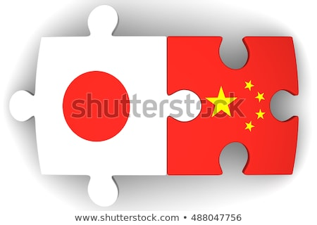 Japan and China Flags in puzzle isolated on white background Stock photo © Istanbul2009