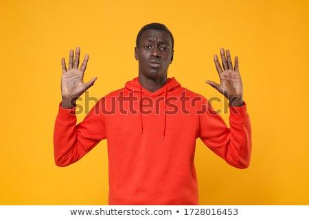 Man handen omhoog geïsoleerd zakenman hand ruimte Stockfoto © fuzzbones0
