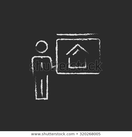 real estate agent showing the house icon drawn in chalk stock photo © rastudio