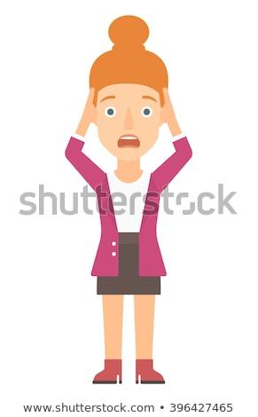 Femme tête désespérée désappointé jeune femme vecteur Photo stock © RAStudio