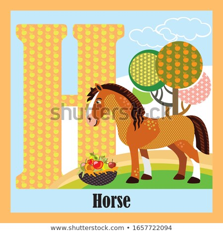 Flashcard letter H is for herbivore Stock photo © bluering