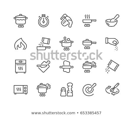 Foto stock: Cozinhar · linha · conjunto · ícones · teia