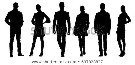 ストックフォト: ビジネスマン · 女性 · シルエット · 立って · ポーズ · eps