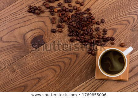 A topview of a table with a cup of coffee Stock photo © bluering