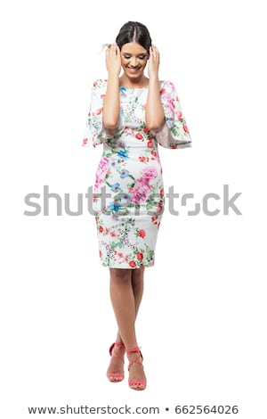 fiatal · nő · zöld · mini · ruha · izolált · fehér - stock fotó © elnur