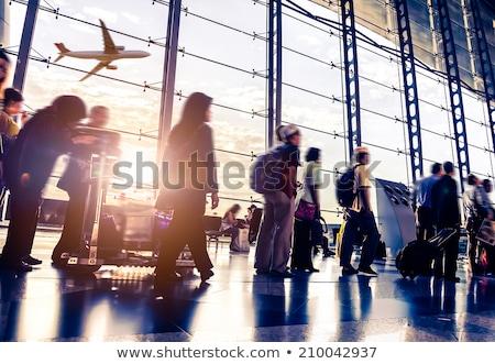 repülőtér · tömeg · utasok · felfelé · pult · modern - stock fotó © zurijeta