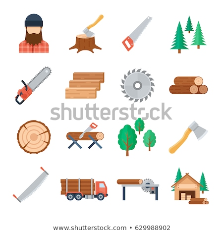 Handsaw cutting a plank icon Stock photo © angelp
