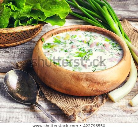 Cold summer soup with vegetables and yogurt (okroshka). Russian  stock photo © Yatsenko