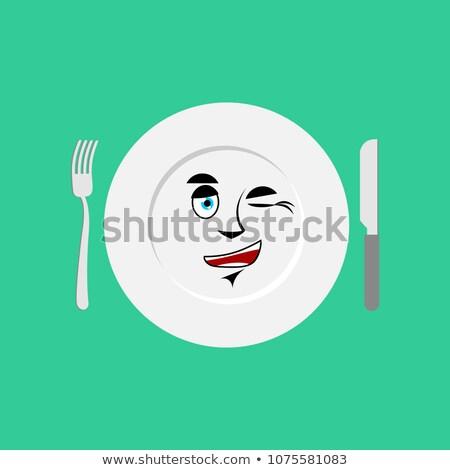 Plate winks Emoji. Empty dish isolated cheerful emotion Stock photo © popaukropa