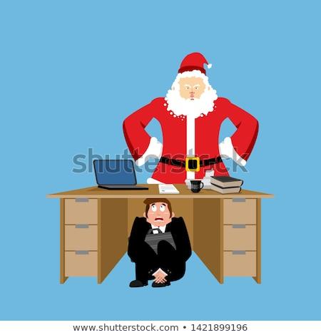 Сток-фото: бизнесмен · страшно · таблице · сердиться · Дед · Мороз · испуганный