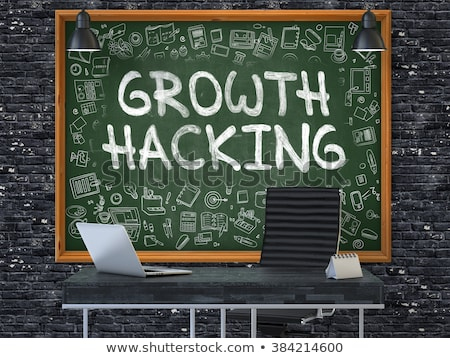 hand drawn growth hacking on office chalkboard stock photo © tashatuvango