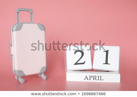 Nap bőrönd naptár üdvözlőlap ünnep ikon Stock fotó © Olena