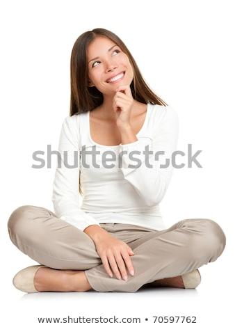 peinzend · aantrekkelijke · vrouw · vergadering · vloer · top - stockfoto © feedough