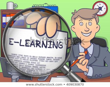 e learning through magnifier doodle style stock photo © tashatuvango