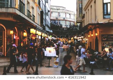 cafe · straat · istanbul · turks · tabel · stoelen - stockfoto © artjazz