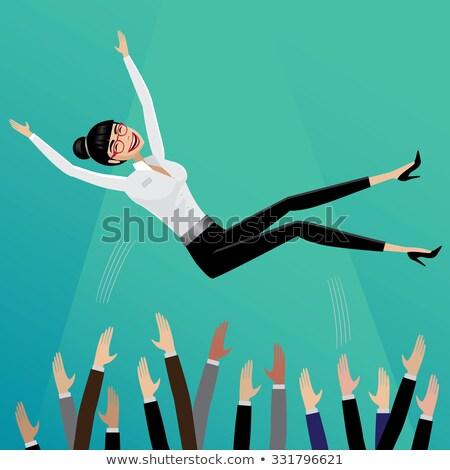 Stockfoto: Omhoog · zakenvrouw · glimlachend · business · vrouw · glimlach