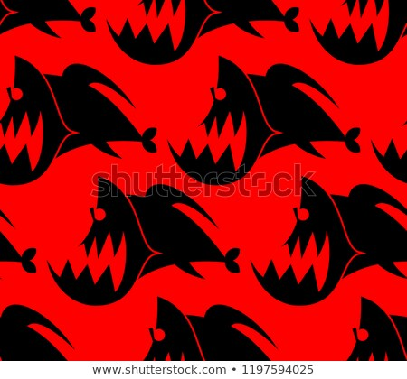 Piranha seamless pattern. Marine Predator fish Amazon texture. T Stock photo © popaukropa