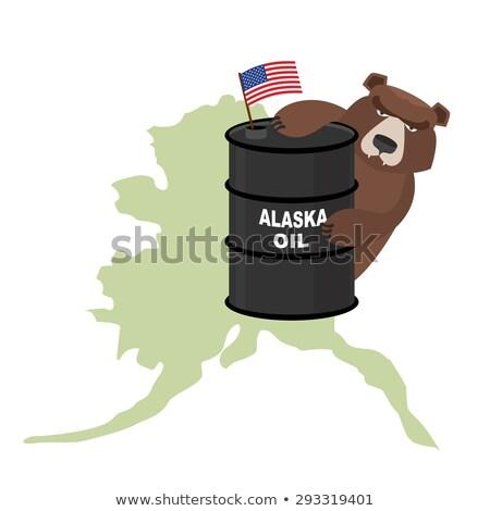 Petróleo barril Alaska mapa bandera Estados Unidos Foto stock © popaukropa