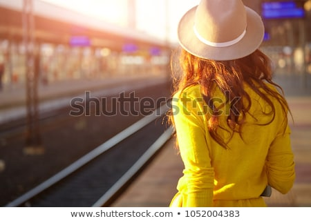 Csinos fiatal nő beszállás vonat uticél vár Stock fotó © lightpoet