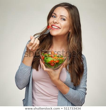 Long hair women_Meal Stock photo © toyotoyo
