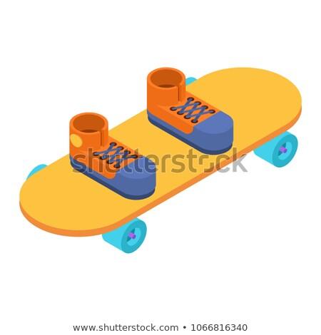 Sneakers on skateboard isometric style. Skateboarder vector illu Stock photo © popaukropa