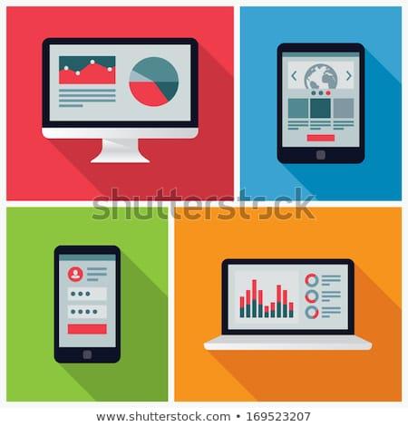 Laptop Vector. Flat icon illustration Stock photo © olehsvetiukha