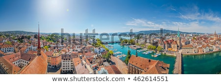 Zurich and Limmat river waterfront aerial view Stock photo © xbrchx