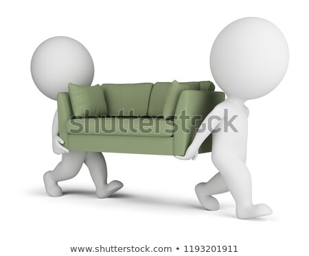 3d small people carry a sofa stock photo © anatolym