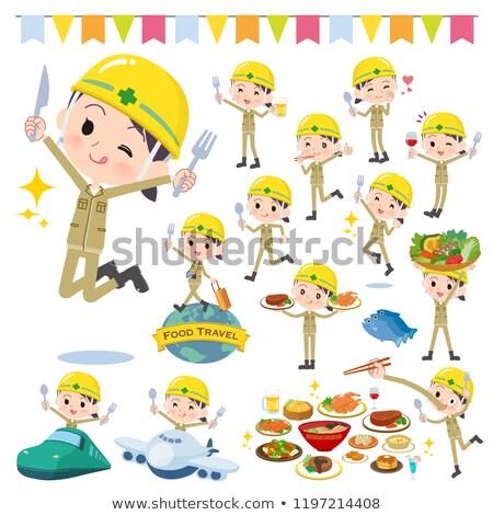 Stock photo: helmet worker women_food festival