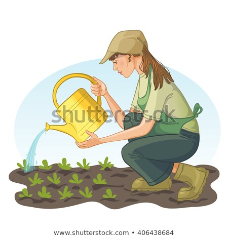woman watering flowers in park vector illustration stock photo © robuart