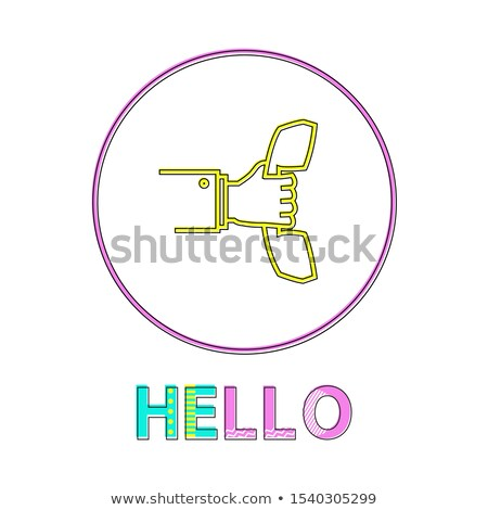 Olá linear ícone mão chamar responder Foto stock © robuart