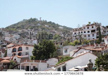メキシコ料理 白い家 赤 ドーム 空 ストックフォト © lunamarina