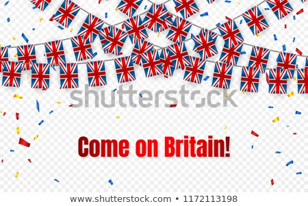 Britain garland flag with confetti on transparent background, Hang bunting for celebration template  Stock photo © olehsvetiukha