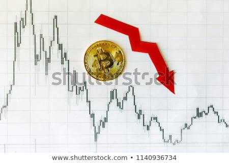 Düşmek bitcoin kırmızı ok aşağı azalma Stok fotoğraf © MaryValery
