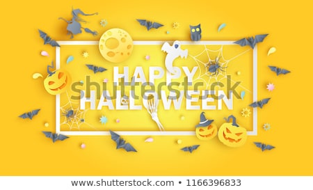 boo happy halloween design with pumpkin moon and flying bats in typography lettering on white back stock photo © articular