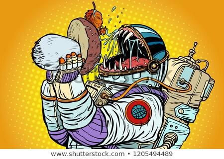 Astronaut Monster Eats Mushroom Stock photo © studiostoks