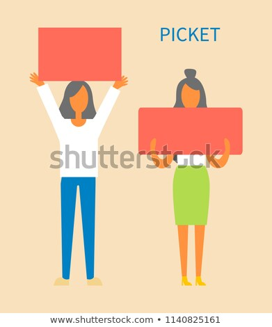Picket Women Holding Tables Vector Illustration Stock photo © robuart