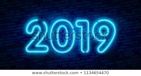Año nuevo colorido neón luces retro diseno Foto stock © MarySan