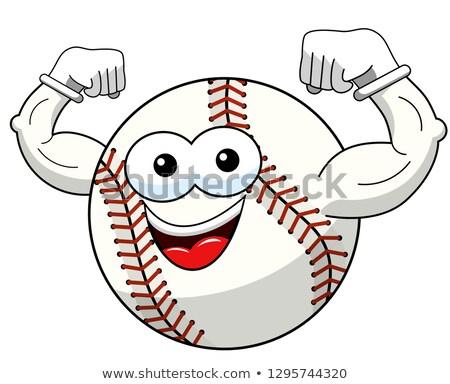 Mutlu beysbole benzer top oyunu karikatür maskot karakter yalıtılmış beyaz Stok fotoğraf © hittoon