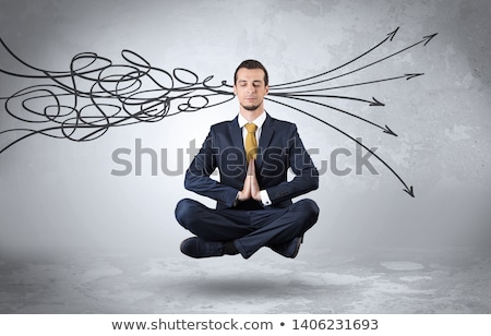 Businessman meditates with purifying doodle concept Stock photo © ra2studio