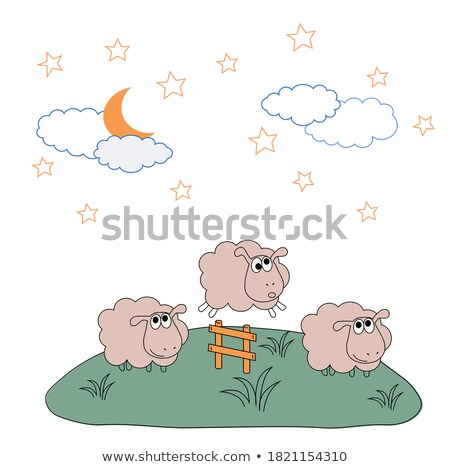 Fluffy Sheep Walking on Meadow Colorful Poster Stock photo © robuart