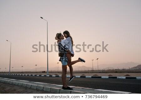 счастливым · Cute · молодые · любящий · пару · позируют - Сток-фото © deandrobot