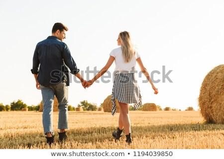 фото удивительный пару человека женщину ходьбе Сток-фото © deandrobot