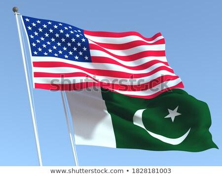Kettő integet zászlók Egyesült Államok Pakisztán izolált Stock fotó © MikhailMishchenko