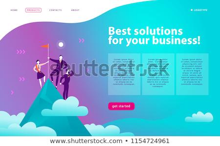 motivatie · landing · pagina · zakenman · trofee · beker - stockfoto © rastudio