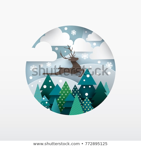 Christmas Paper Cut Fir-tree Vector Illustration Stock photo © robuart
