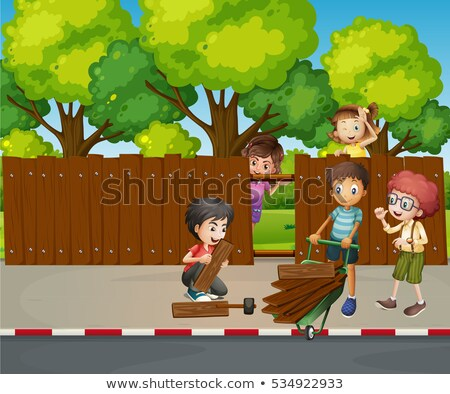 Many children fixing wooden fence together Stock photo © colematt