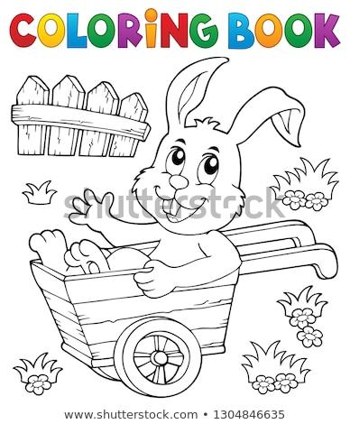 Kleurboek bunny kruiwagen boek konijn kunst Stockfoto © clairev